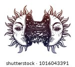 sun broken in two half open and ... | Shutterstock .eps vector #1016043391