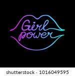 girl power. feminist slogan.... | Shutterstock .eps vector #1016049595