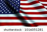 usa flag waving in the wind. 3d ... | Shutterstock . vector #1016051281