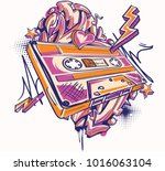 funky colorful audio cassette... | Shutterstock .eps vector #1016063104