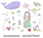 underwater life. mermaid ... | Shutterstock .eps vector #1016075644