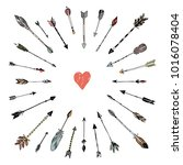 decorative arrows and heart... | Shutterstock . vector #1016078404