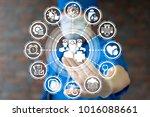 healthcare doctors team work... | Shutterstock . vector #1016088661