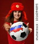 russian style fan sport woman... | Shutterstock . vector #1016094895