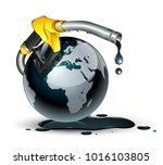 fuel pump nozzle connected with ... | Shutterstock .eps vector #1016103805