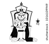 king wearing a crown and royal...   Shutterstock .eps vector #1016109949