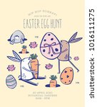 easter egg hunt poster.... | Shutterstock .eps vector #1016111275