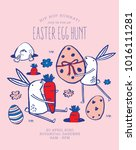 easter egg hunt poster.... | Shutterstock .eps vector #1016111281