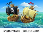 a sea battle of wooden ships.... | Shutterstock .eps vector #1016112385