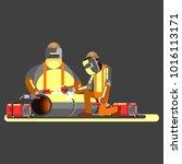 two welders in work | Shutterstock .eps vector #1016113171