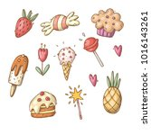 set of doodle candy | Shutterstock .eps vector #1016143261