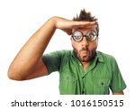 man with funny expression and... | Shutterstock . vector #1016150515