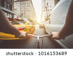 pov bicycle view camera in new... | Shutterstock . vector #1016153689