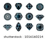 vector set of black diamond... | Shutterstock .eps vector #1016160214