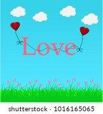 paper heart for valentantine's... | Shutterstock .eps vector #1016165065