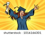 happy graduate girl student of... | Shutterstock .eps vector #1016166301