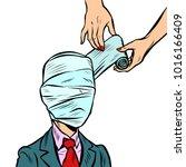 fully bandaged head  medical... | Shutterstock .eps vector #1016166409