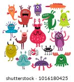 Funny Monsters Set. Vector...
