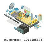 taxi future gadgets isometric... | Shutterstock . vector #1016186875