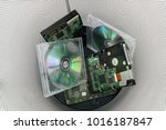 old cds and disks are in... | Shutterstock . vector #1016187847