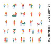 a pack of people flat vector... | Shutterstock .eps vector #1016189419