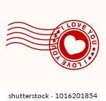 i love you stamp. postmark.... | Shutterstock .eps vector #1016201854
