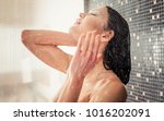 beautiful woman taking shower... | Shutterstock . vector #1016202091