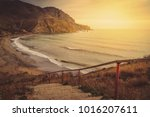 magnificent golden sunset over... | Shutterstock . vector #1016207611