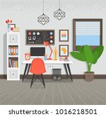 workplace flat style vector... | Shutterstock .eps vector #1016218501