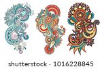 paisley flower pattern in... | Shutterstock . vector #1016228845