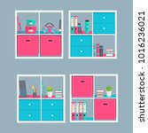 storage shelving with books and ... | Shutterstock .eps vector #1016236021