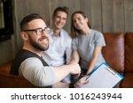 smiling professional man...   Shutterstock . vector #1016243944