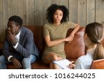 african frustrated wife talking ... | Shutterstock . vector #1016244025