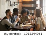 multiracial happy young people... | Shutterstock . vector #1016244061
