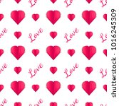 paper heart.seamless pattern of ... | Shutterstock .eps vector #1016245309