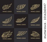 set of bird eagle and wing logo ... | Shutterstock .eps vector #1016260447