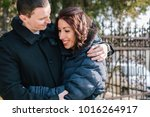 happy young couple having fun... | Shutterstock . vector #1016264917
