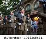 june 19  2017. soldiers of a... | Shutterstock . vector #1016265691