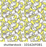 seamless pattern  cute cats on... | Shutterstock .eps vector #1016269381