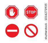 vector stop red sign  symbol ... | Shutterstock .eps vector #1016273935