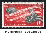 Small photo of NEW ZEALAND - CIRCA 1962: stamp printed by New Zealand, shows Teleprinter and tape, circa 1962