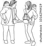 vector art drawing of two... | Shutterstock .eps vector #1016294419