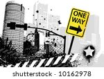 one way traffic sign city | Shutterstock .eps vector #10162978