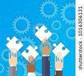 hands together team work. hands ... | Shutterstock . vector #1016306131