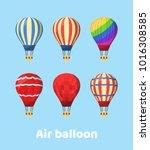 flat hot air balloon | Shutterstock .eps vector #1016308585
