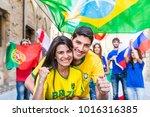 happy brazilian couple... | Shutterstock . vector #1016316385