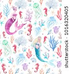 watercolor sea pattern with... | Shutterstock . vector #1016320405