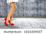 woman legs with red shoes and... | Shutterstock . vector #1016334037