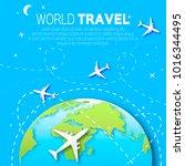 travel around the world map... | Shutterstock . vector #1016344495