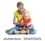 baby boy with babysitter... | Shutterstock . vector #1016352631